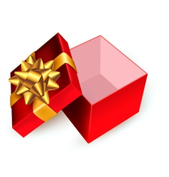 Open red gift box with golden ribbons vector image