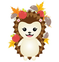 Cute Autumn Hedgehog4 vector image