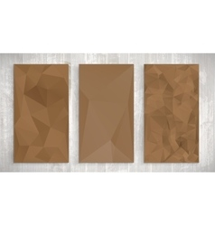 Set of brown wrinkled stylized paper on wooden vector