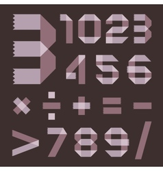 Font from lilac scotch tape - Arabic numerals vector image