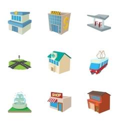 Public building icons set cartoon style vector