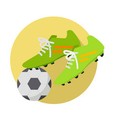 soccer ball with boots flat vector image