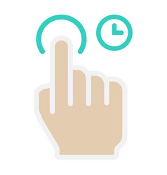 Press and hold flat icon touch and hand gestures vector
