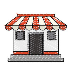 Color crayon stripe cartoon facade shop store vector