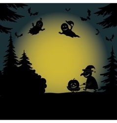 Halloween landscape with ghosts and witch vector