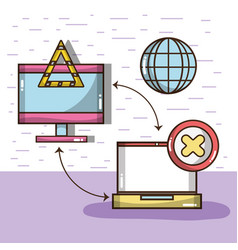 Technology television and laptop with icons vector
