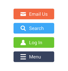 flat buttons set email search log in menu vector image