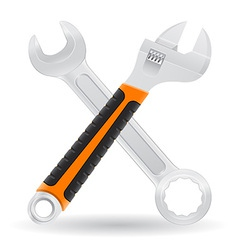 Tools spanner and screw wrench vector