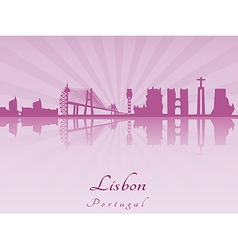 Lisbon skyline in purple radiant orchid vector