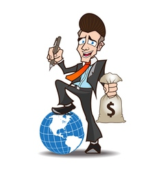 Businessman powerful cartoon vector