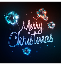 Neon sign merry christmas and firework vector