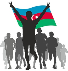 Winner with the azerbaijan flag at the finish vector