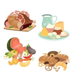 Collection of food items vector
