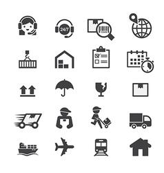shipping icon set vector image