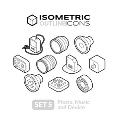 Isometric outline icons set 5 vector