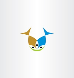 Two fish eating icon vector