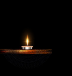 Burning small candle with stand and veil vector