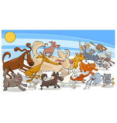 Cartoon running dog and cats group vector