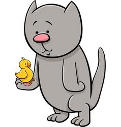 Cat with canary cartoon vector