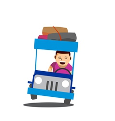 cheerful man driving a Philippine jeep vector image