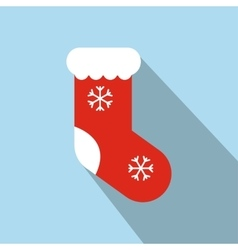 Christmas red sock flat icon vector image vector image