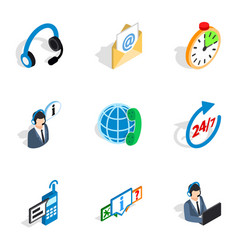 Contact and support icons isometric 3d style vector