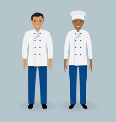 couple of male and female chefs standing in vector image vector image