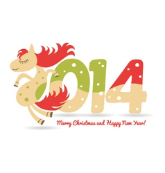 Cute horse for christmas greetings and calendar vector