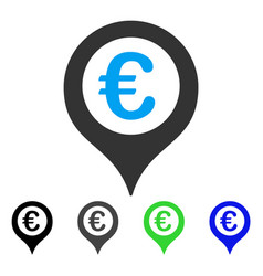 Euro map marker flat icon vector