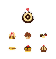 flat cake set of pastry muffin cake and other vector image