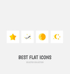 Flat icon night set of starlet lunar bedtime and vector