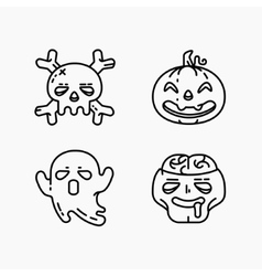 Flat linear halloween icons set vector