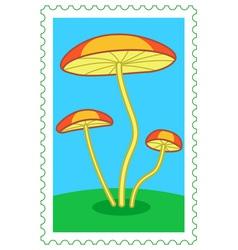 Fungi on stamp vector image vector image