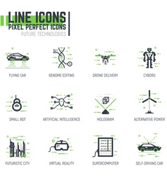 Future line icons vector image vector image
