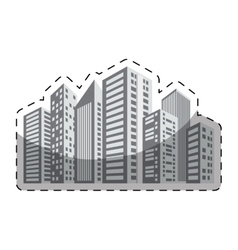 Grayscale buildings and city scene line sticker vector