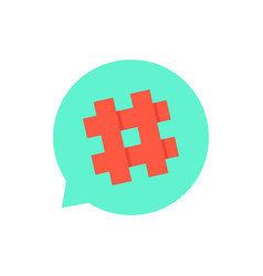 green speech bubble with red hashtag vector image