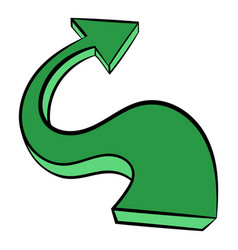 green wavy arrow icon icon cartoon vector image