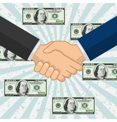 Handshake over some flying dollar banknotes vector