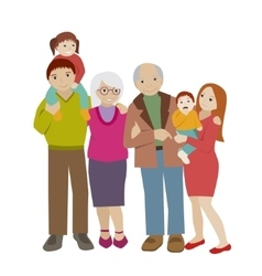 Large family portrait flat cartoon vector