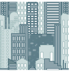 seamless pattern of cartoon hand drawing city vector image