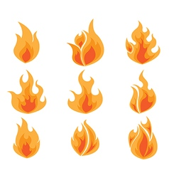 Set of Fire Flames Icon vector image