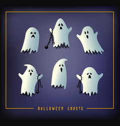 set of six halloween ghosts vector image vector image