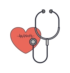 Stethoscope to listen red heart beat vector