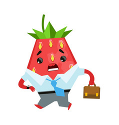 Strawberry businessman with briefcase cute vector