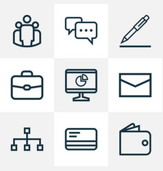 Trade outline icons set collection of analytics vector