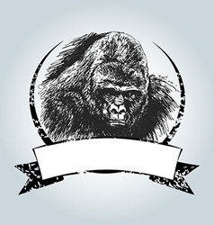 Vintage label with gorilla head vector image