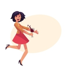 Young beautiful girl dancing at party with a wine vector