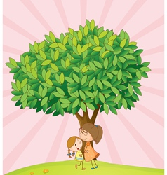 Kids playing under tree vector