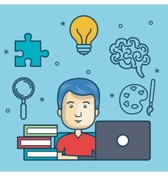 Guy education online with laptop design vector
