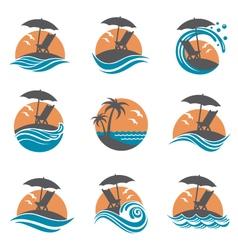 emblems set of summer vacation vector image